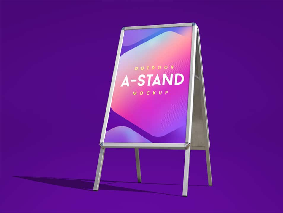 Free Outdoor Advertising Foldable A-Stand Mockup PSD
