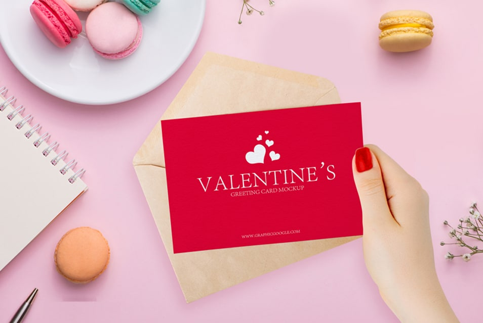 Free Valentines Greeting Card in Girl Hand Mockup