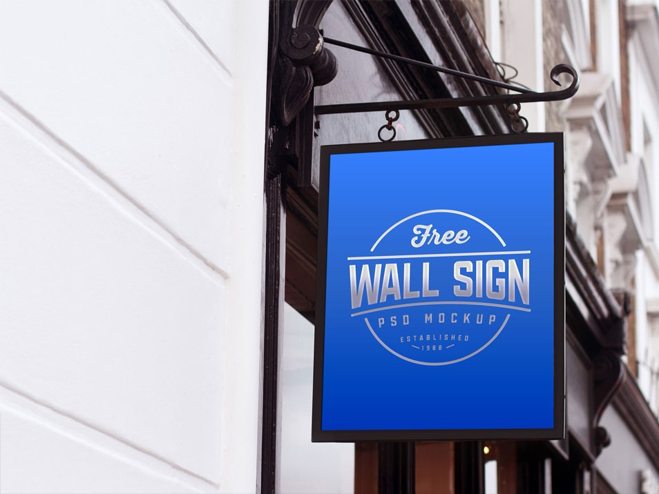Free Wall Mounted Classic Wall Sign Mockup PSD