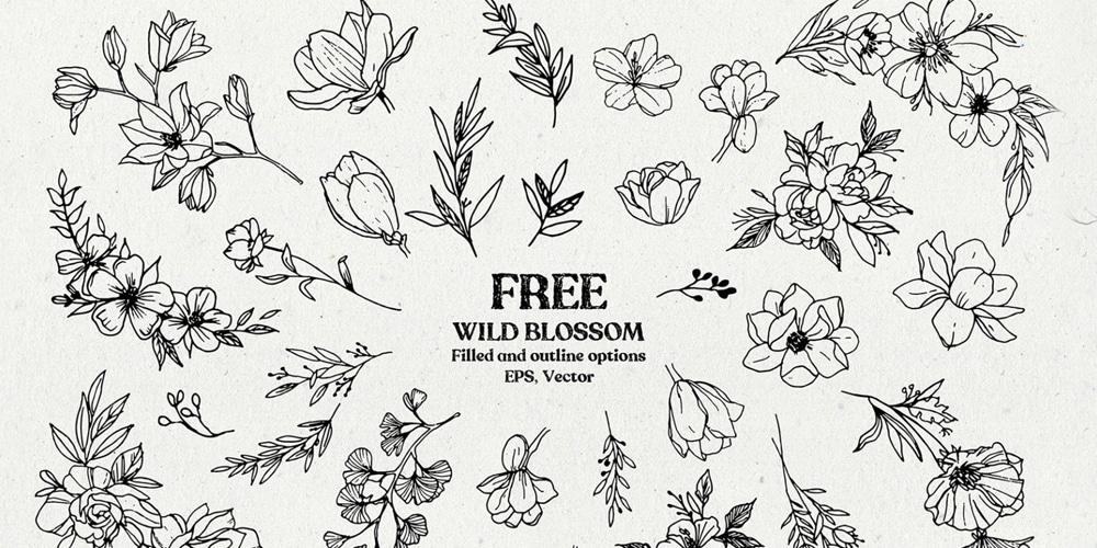 Free Wild Blossom Hand Sketched Floral Elements