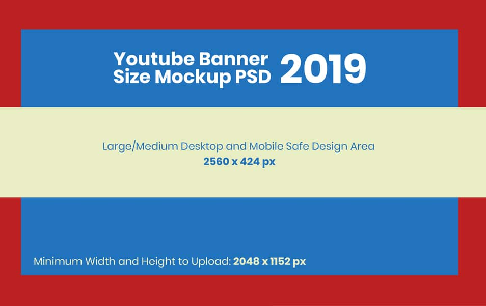 Free YouTube Banner Size Mockup PSD 2019