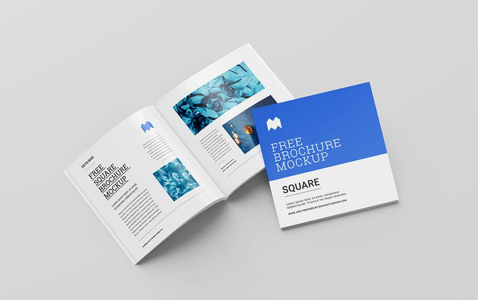Free Perfect Binding Square Brochure Mockup