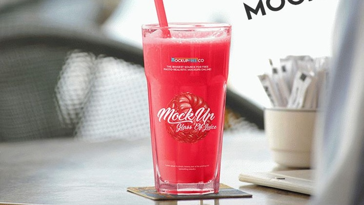 Glass Of Juice Free PSD Mockup