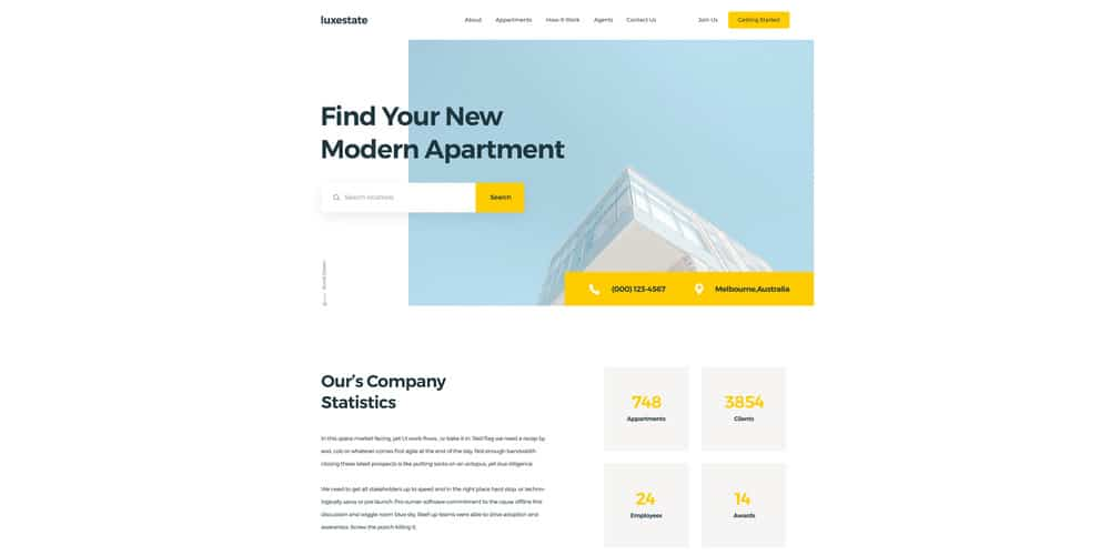Luxestate Real Estate Landing Page PSD