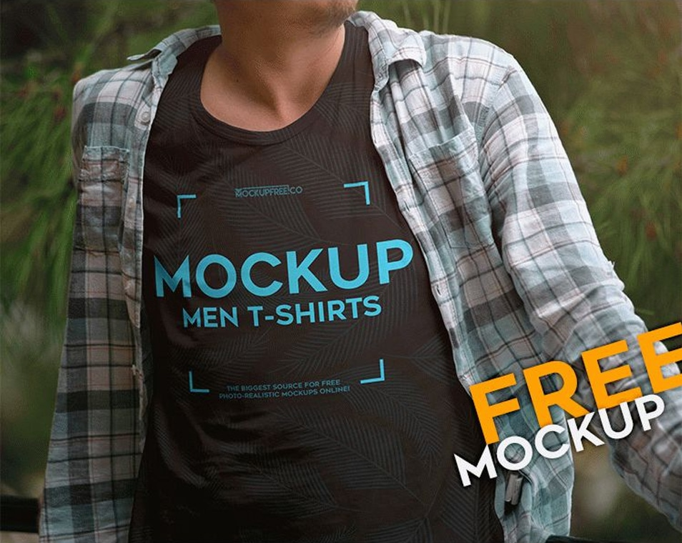 Men T-shirts Free PSD Mockup
