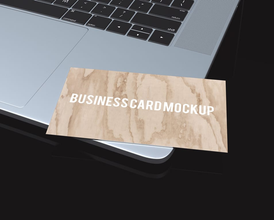 Single Business Card Mockup on New MacBook Pro