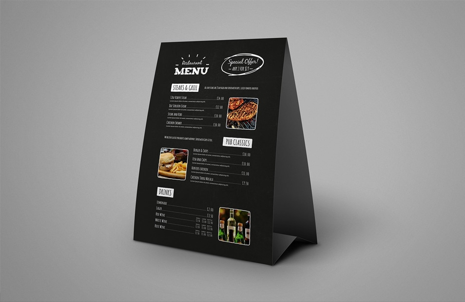 Table Tent Menu Mockup 187 Css Author