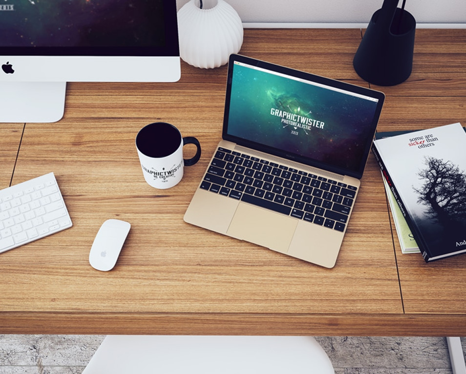 Top View MacBook Workspace Mockup