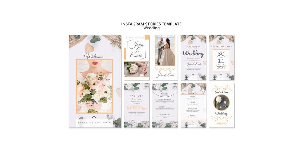 Wedding Instagrm Stories Template PSD