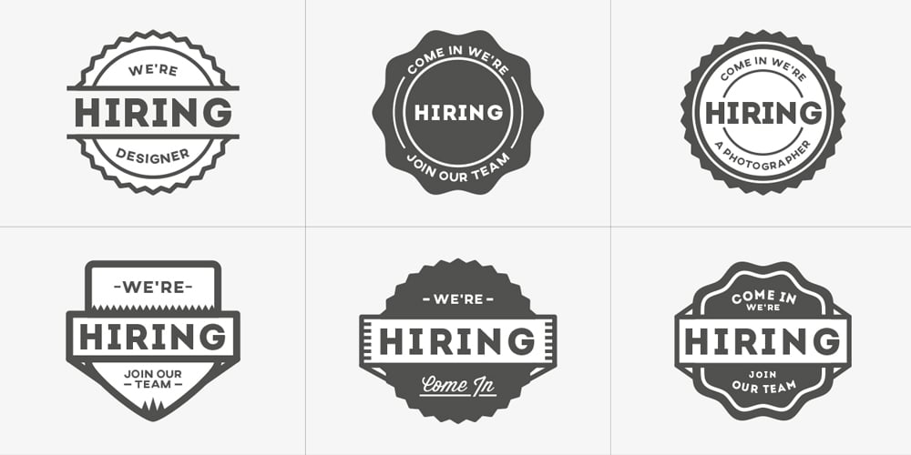 Were Hiring Vector Badges
