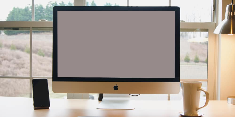 iMac Mockup in Workspace Template PSD