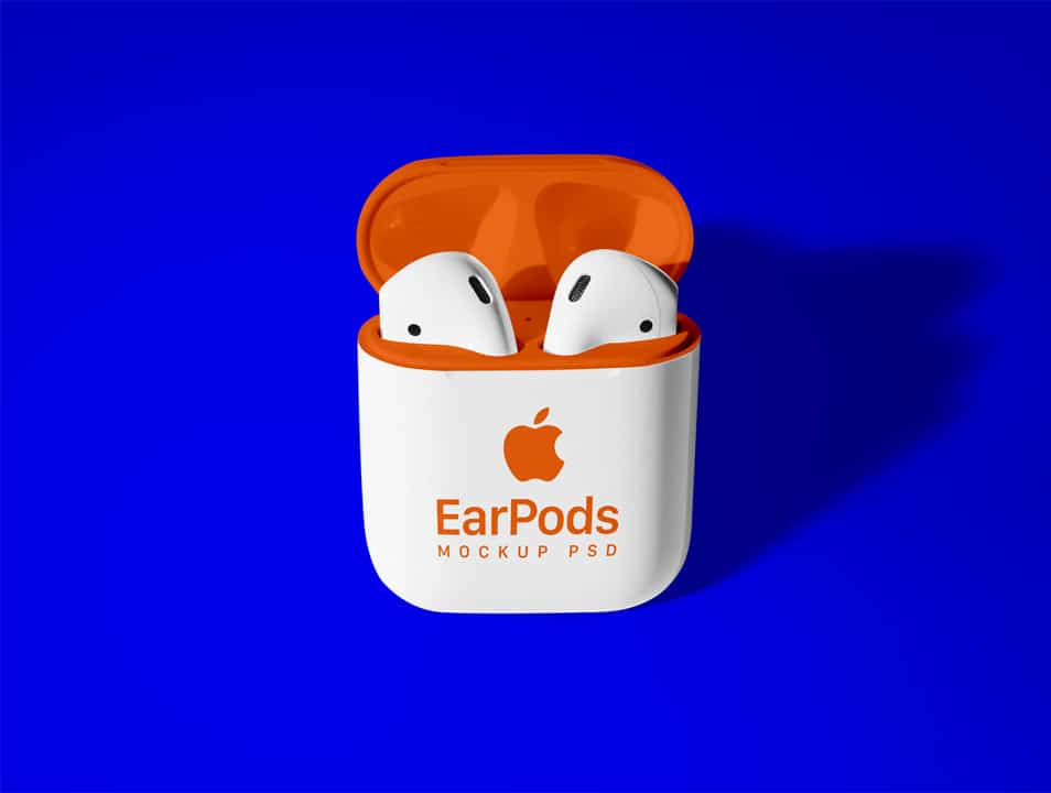 Free Apple AirPods 2 Mockup PSD