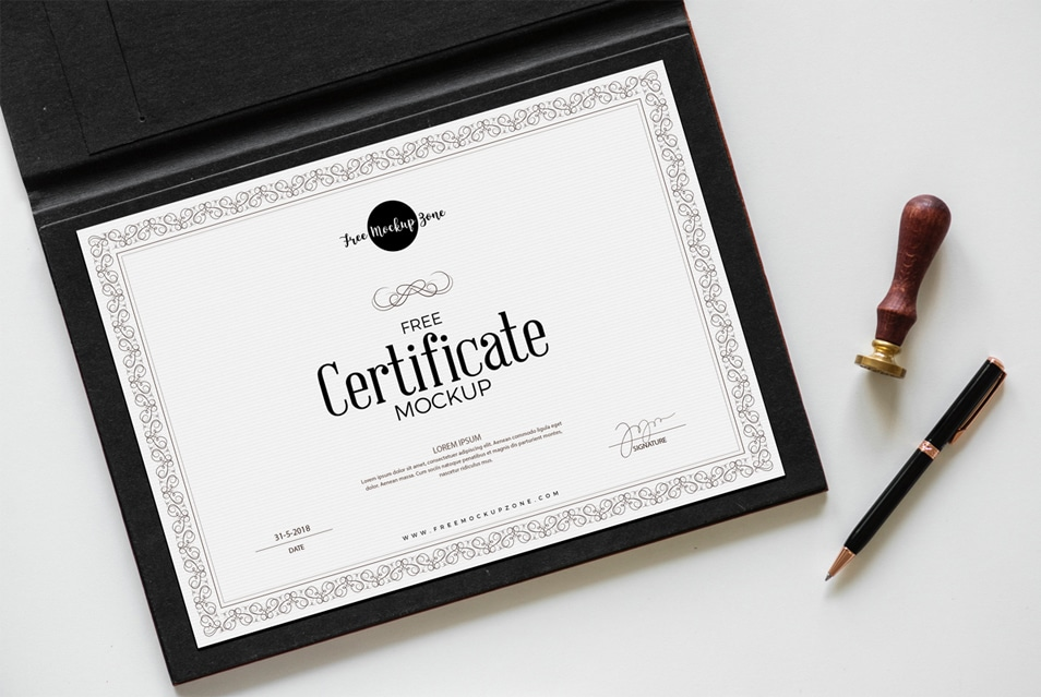 Free Certificate Mockup PSD