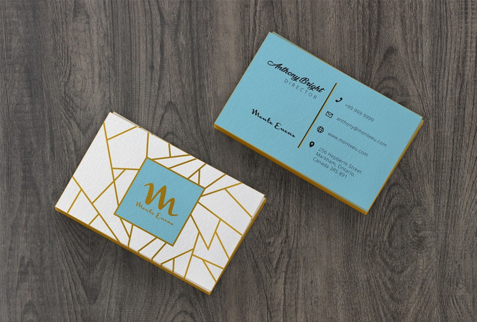 Free Colored Edge Front & Back Business Card Mockup PSD