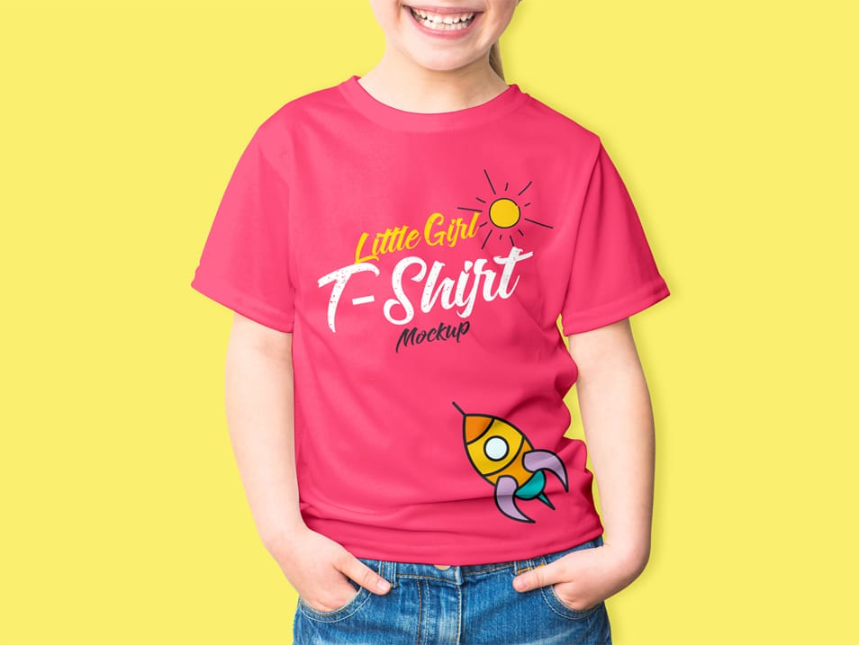 Free Little Girl T-Shirt Mockup PSD