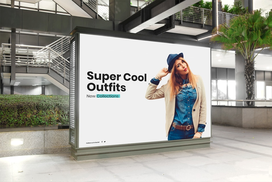 Free Mall Indoor Billboard Digital Ad Mockup PSD For Advertisement