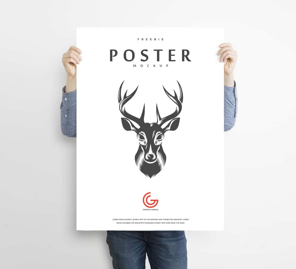 Free Man Holding Advertisement Poster Mockup PSD