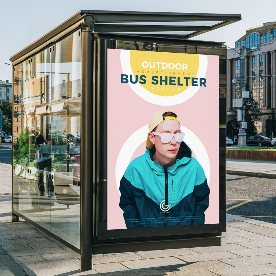 Free Outdoor Advertisement Bus Shelter Mockup PSD