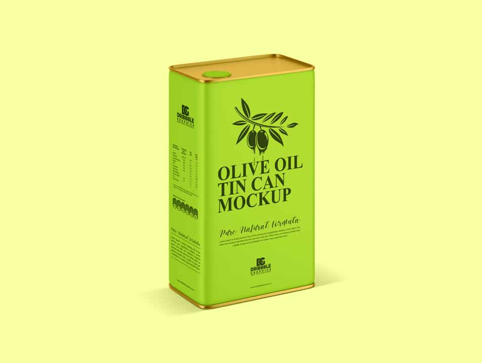 Free Packaging Olive Oil Tin Can Mockup PSD