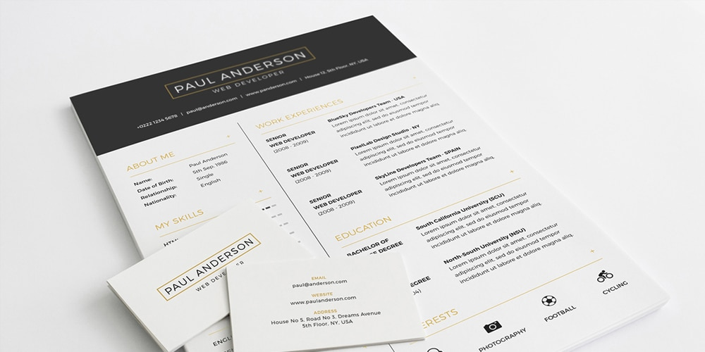Free Resume With Business Card PSD