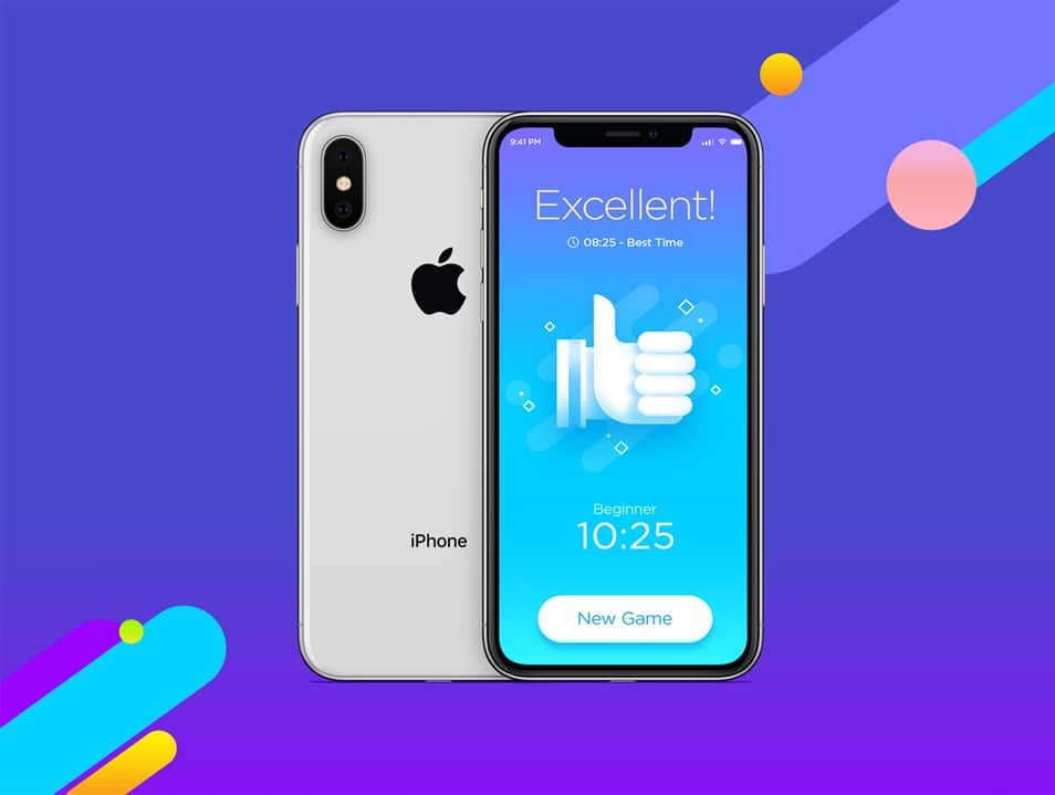 Free Silver iPhone X Mockup For Screens Presentation