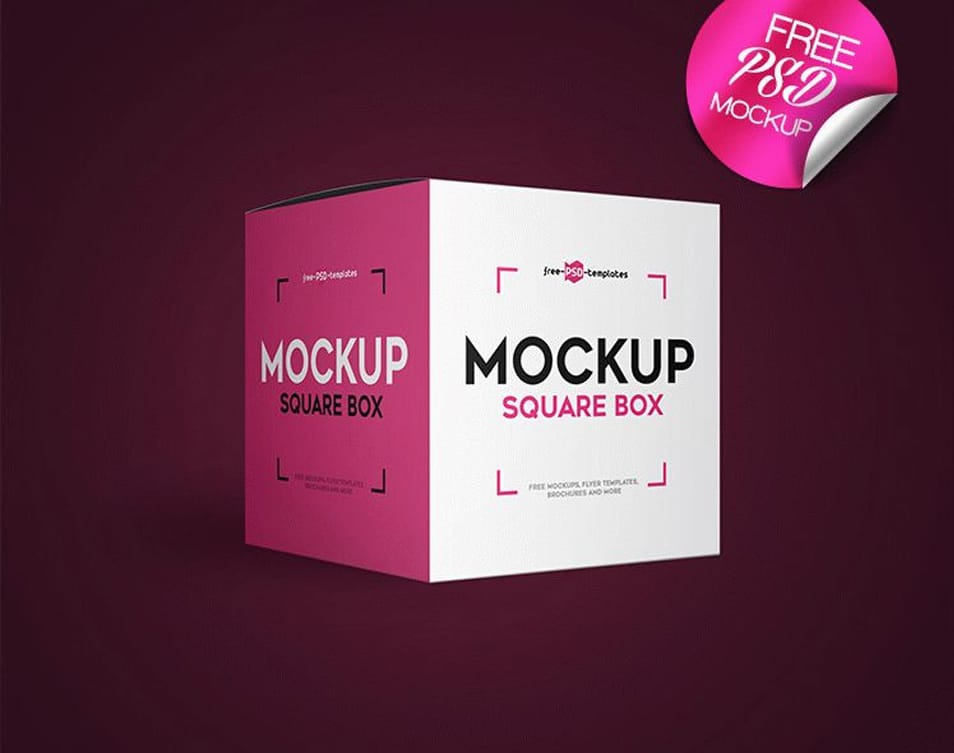 Free Square Box Mock-up in PSD