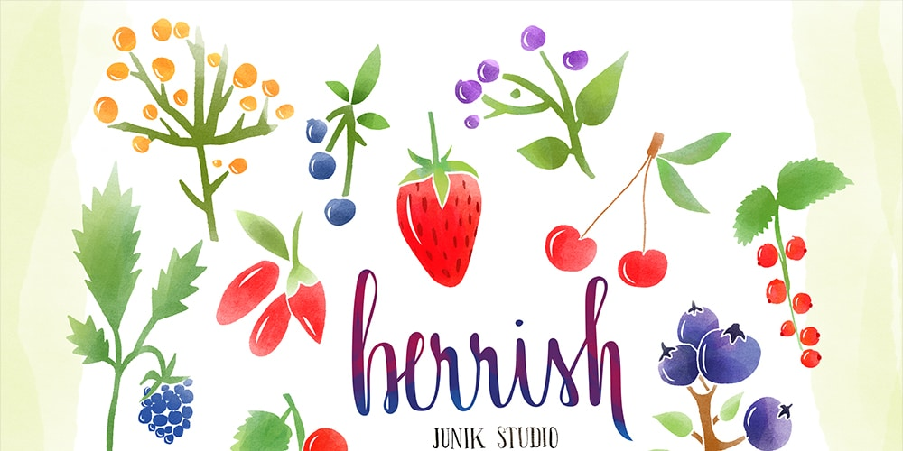 Free Watercolor Berries Elements