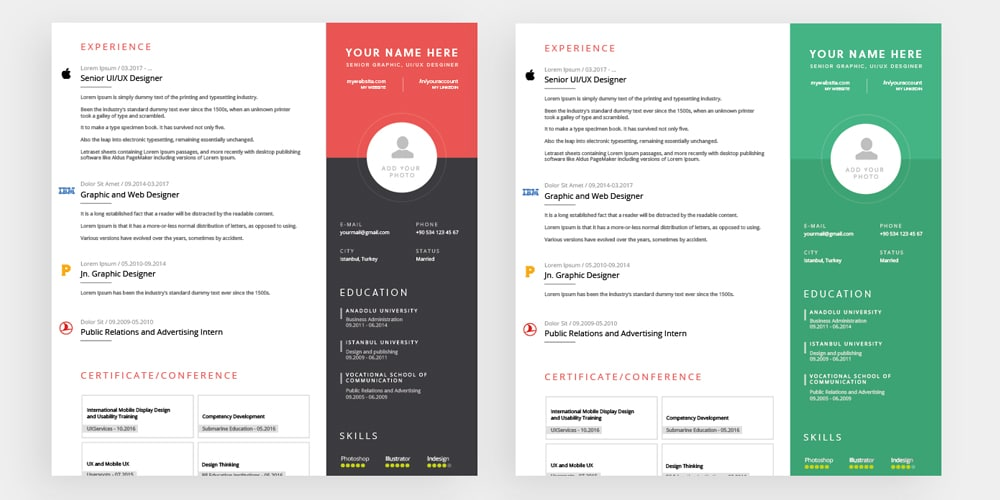 Fully Editable Resume Templates