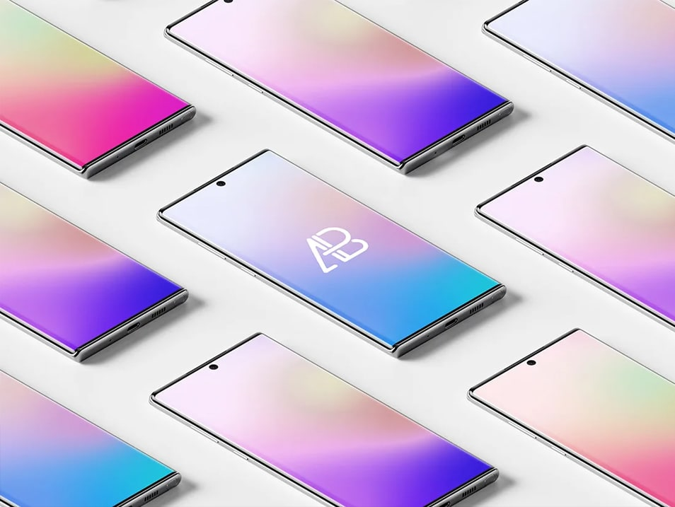 Isometric Galaxy Note 10 Pro Mockup
