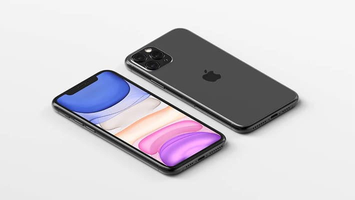 Isometric iPhone 11 Pro Max Mockup