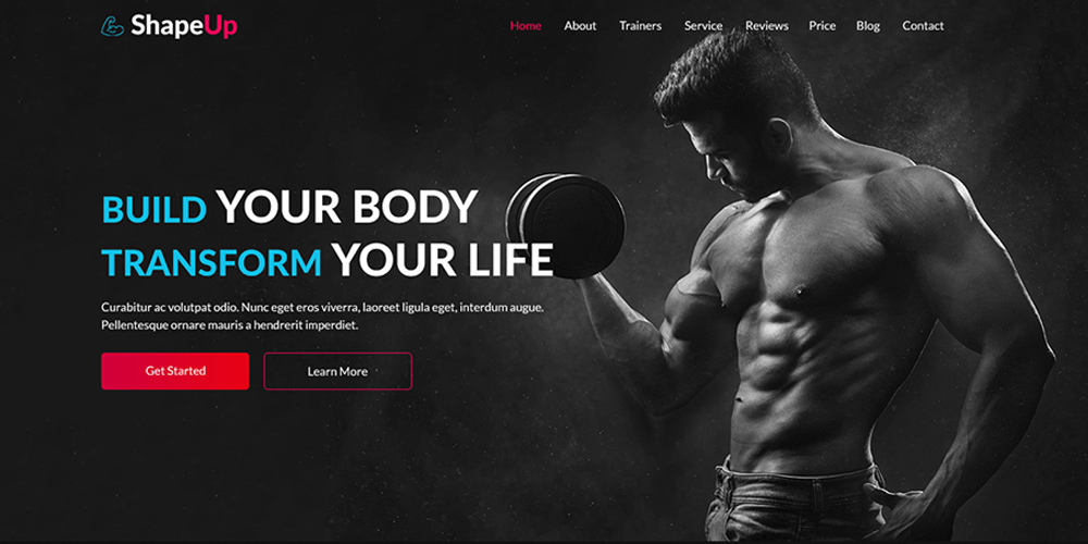 ShapeUp Gym Website Template PSD