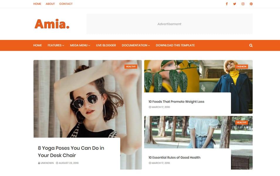 Amia Personal Elegant Blog Theme