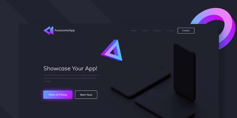 Awesome App Landing page Template