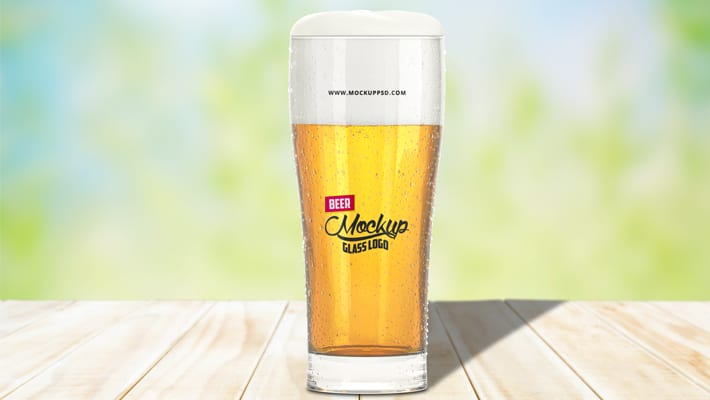 Beer Glass Logo Mockup PSD