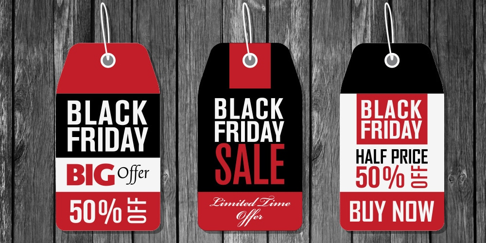 Black Friday Price Tag Stickers Vector