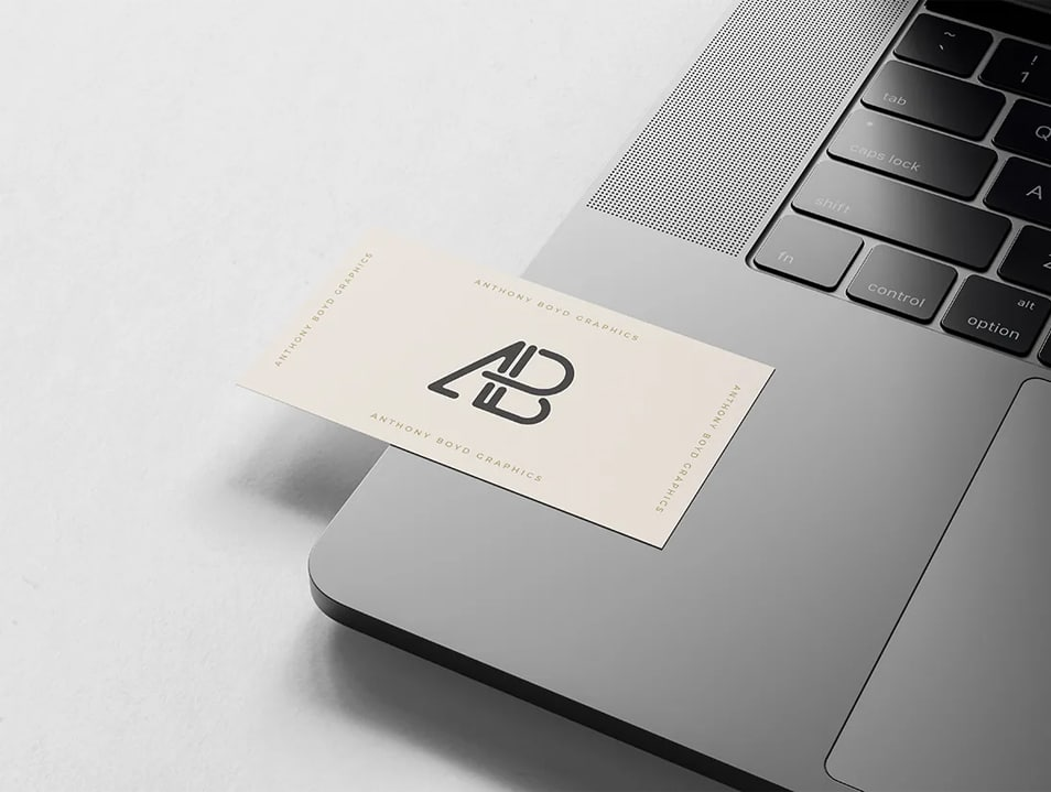 Business Card on MacBook Pro Mockup