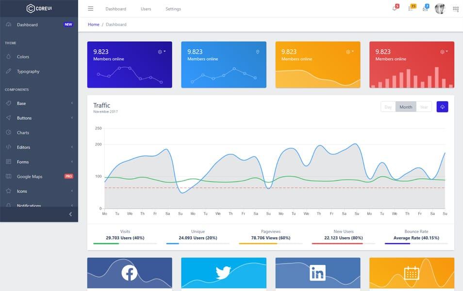 CoreUI Vue: plantilla de administrador de Bootstrap gratuita