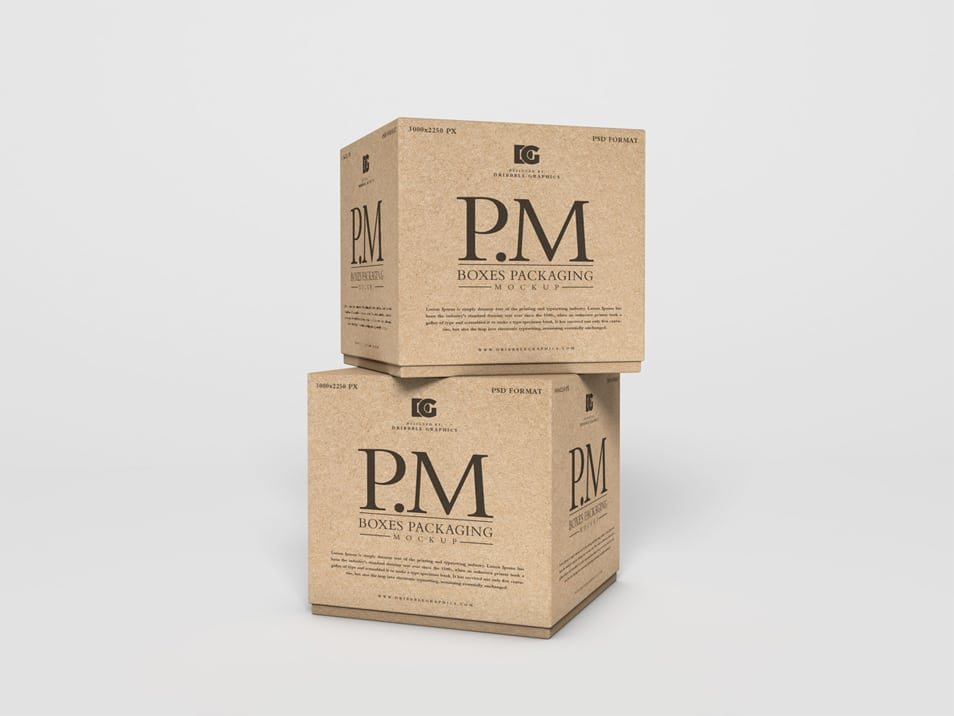 Free Craft Boxes Packaging Mockup PSD 2019