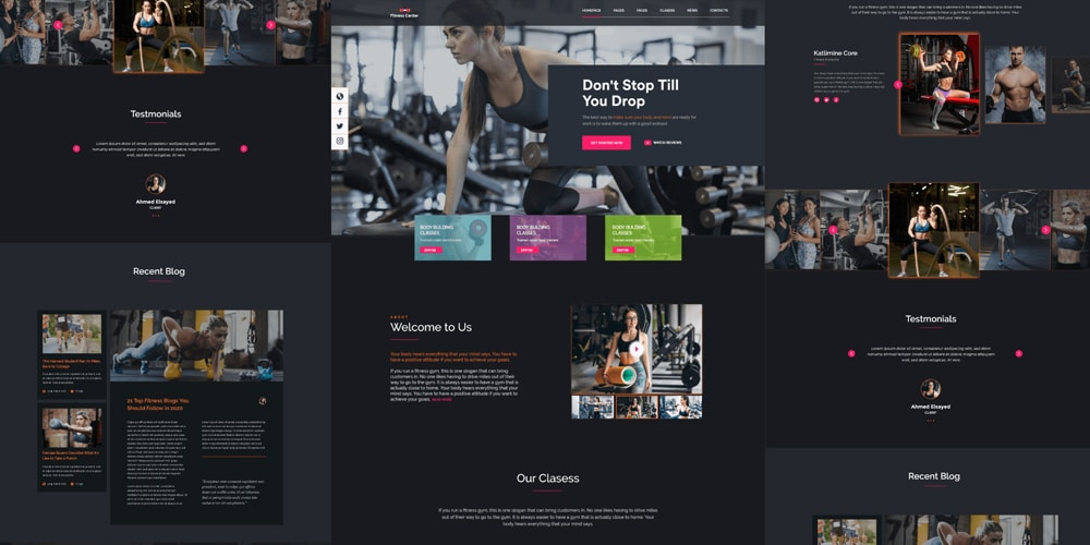 Free Fitness Website XD Template