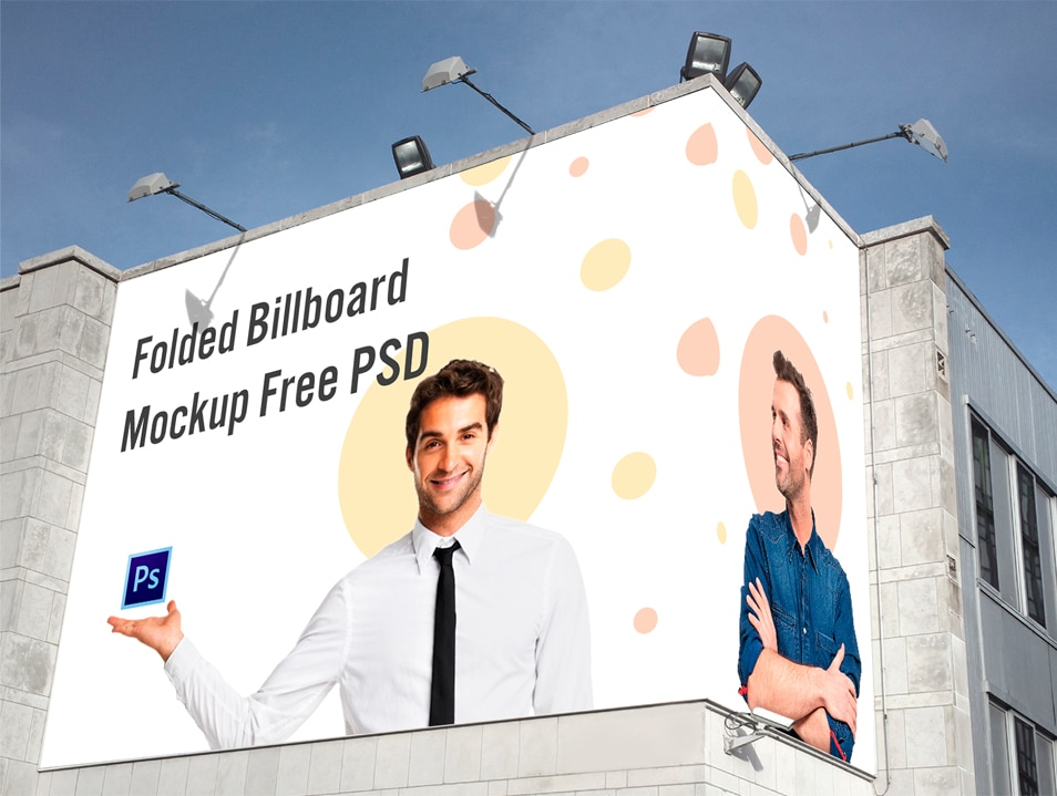 Free Folded Billboard Mockup