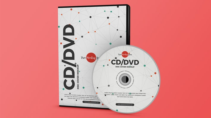 Free Modern CD / DVD Disc Cover Mockup PSD