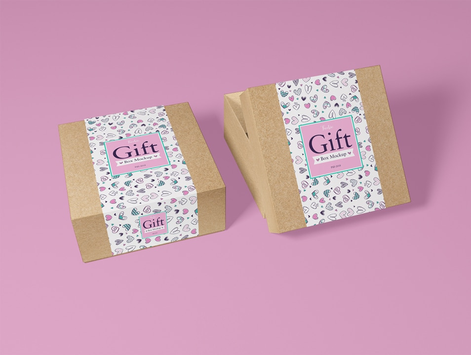 Free Packaging Craft Paper Gift Box Mockup PSD