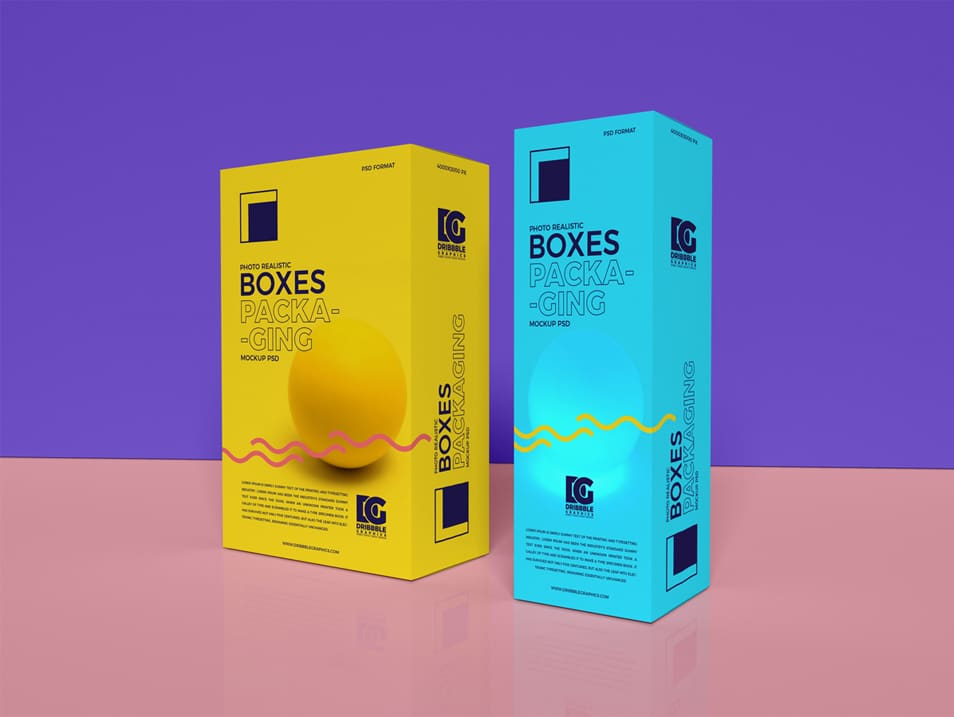 Free Photo Realistic Boxes Packaging Mockup PSD 2019