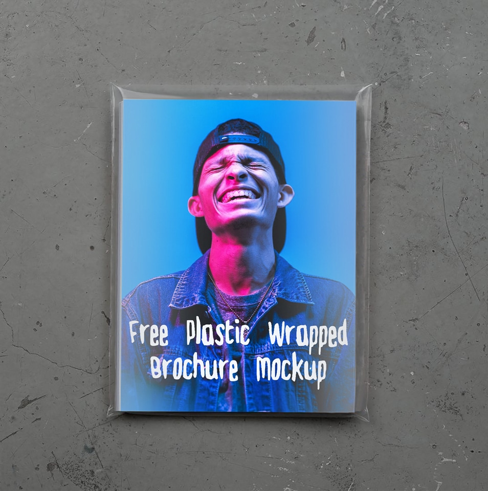 Free Plastic Wraped Brochure Mochup