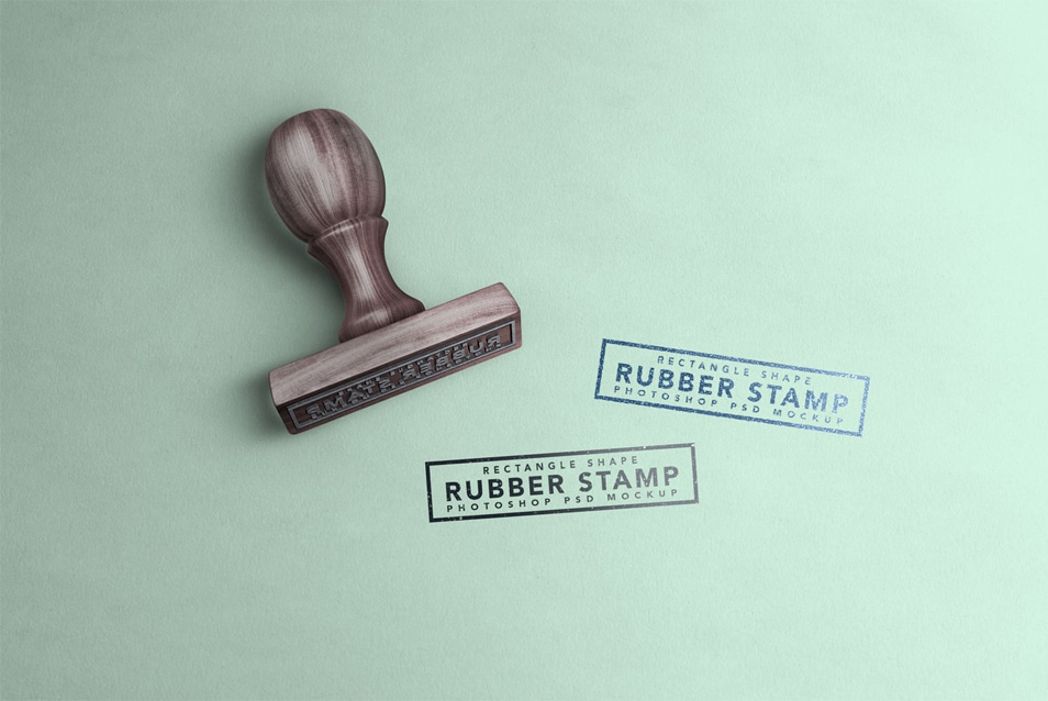 Free Rectangle Rubber Stamp Mockup PSD