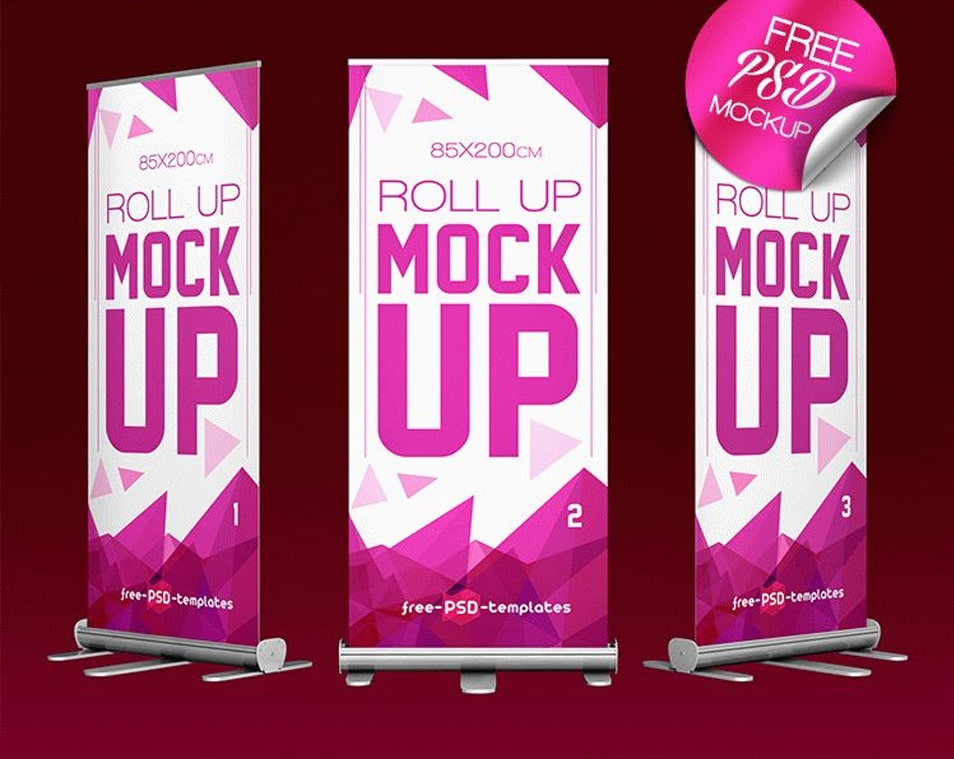 Free Roll Up Mock-up in PSD