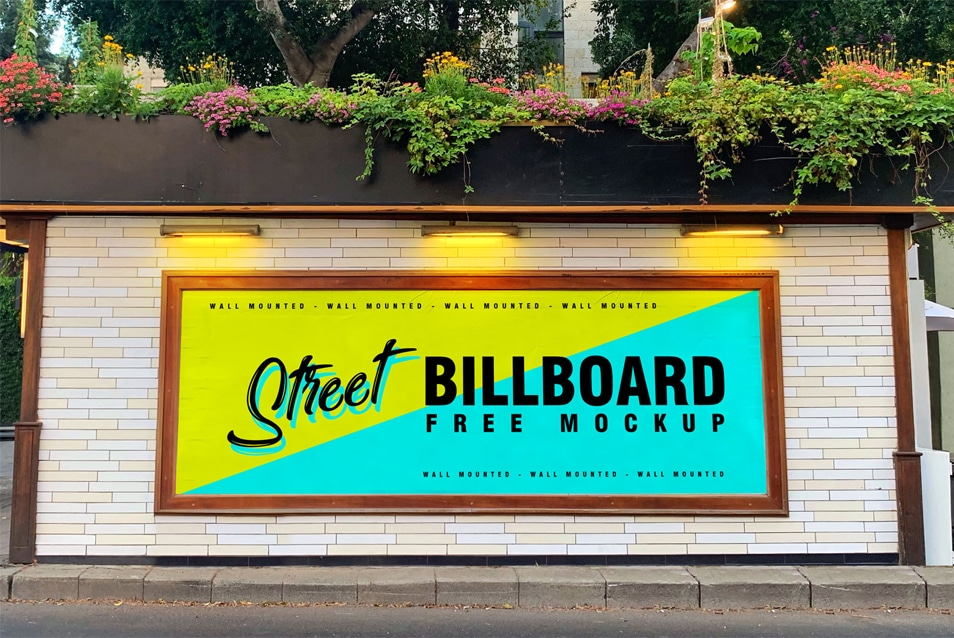 Free Street Wall Mounted Billboard Mockup PSD