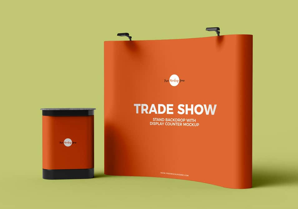 Free Trade Show Banner Stand Backdrop With Display Counter Mockup PSD