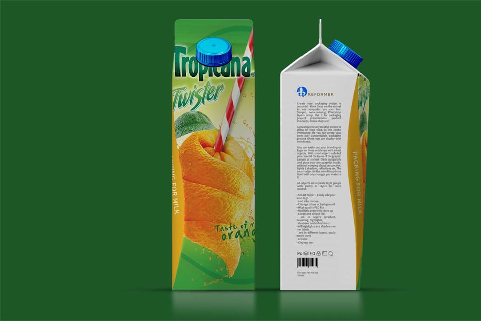 Juice Packaging PSD Mockup