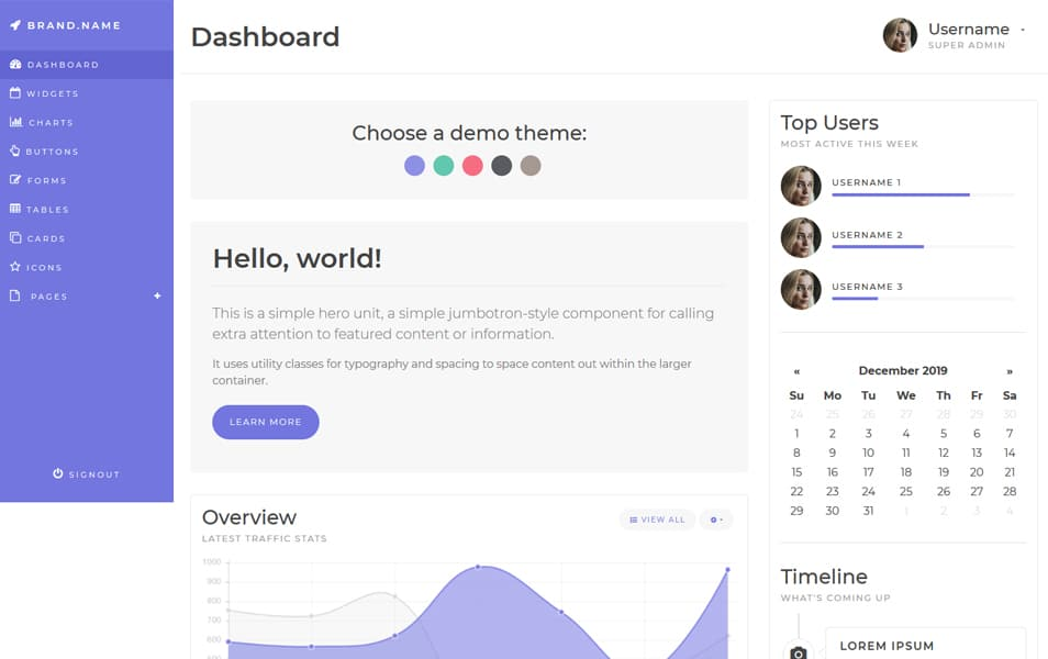 Medialoot Bootstrap 4 Dashboad Template